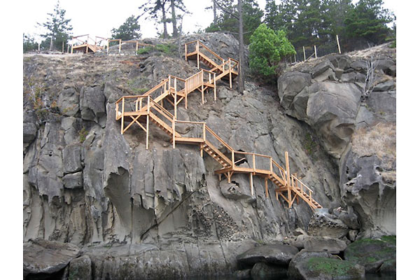 shoreline design steep cliff wood stairs image